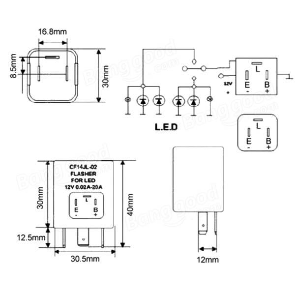 LED Flasher Unit Relay 1